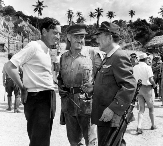 David Lean with Alec Guinness and Sessue Hayakawa