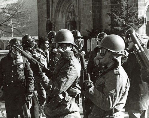 NATIONAL GUARDSMEN were often used to control and strike fear into anti-war protesters from 1968 through 1972. The Guardsmen were used at Kent State University to control an anti-war rally and four innocent students lost their lives.