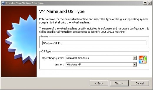 Choosing the OS Type and Version to create a new VM