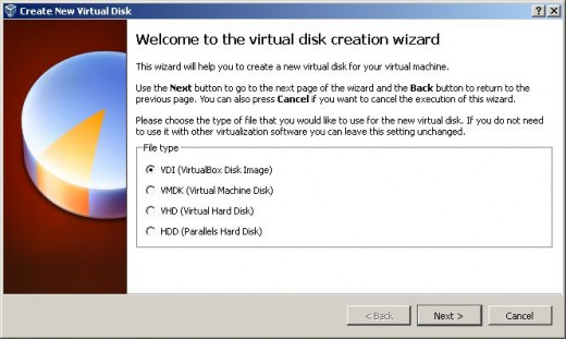 The different virtual disk image types that VirtualBox can use.  The default is the VirtualBox Disk Image type (VDI)