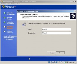 Setup will prompt for User and Corporate/Organization names as well as date/time and timezone settings