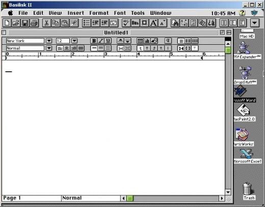 ClarisWorks Word Processor running inside of Basilisk II
