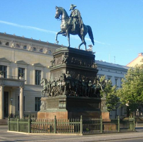 Equestrian statue of King Frederick II of Prussia, in Unter den Linden Boulevard, Central Berlin