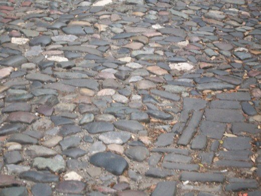The cobbled streets near the river front