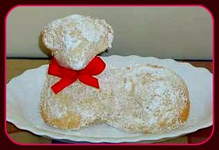 Traditional Easter cake in a shape of lamb.