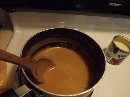 Melted butter, caramel, and milk.