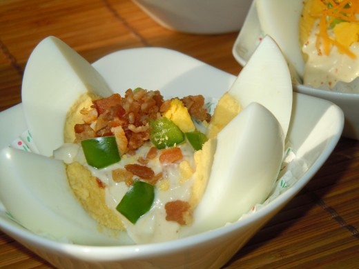Egg Salad Lotus with baked bacon bits