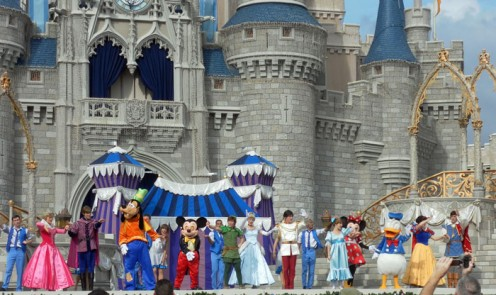 The 'Dream along with Mickey' show on the castle stage is one of the most popular shows in this theme park.