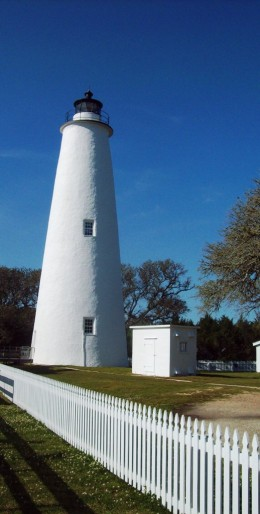 The Ocracoke Light Station - distinctively all white in color.