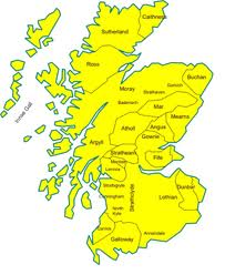 Pre-1974 regions of Scotland. North of the Caledonian Canal the Highlands became the heartlands of Stuart support in the 18th Century