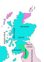 Early mediaeval Population make-up of Scotland. The purple areas are Norse