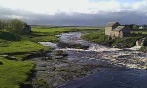 Caithness riverside scene - the land is poor, agriculture sparse, more suited to grazing sheep - the territory would be de-populated later in Scotland's history during the Highland Clearances
