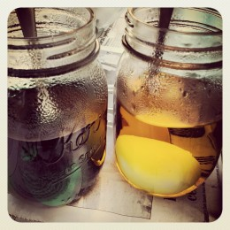 coloring eggs in mason jars