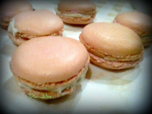 French macaroons with 'legs', and smooth round surface