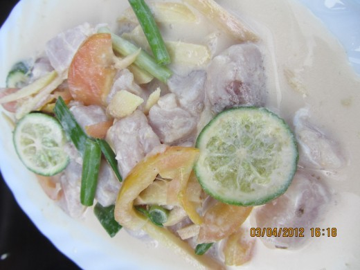 Fresh fish in vinegar called 'Kinilaw' at Hoyohoy Highland Park's Restuarant