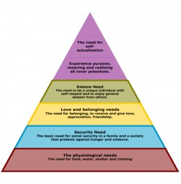 Abraham Maslow's Pyramids of Needs.  What is not shown is the one above self actualizaiton: Self Realization.