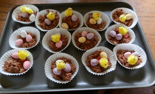 tray of chocolate Easter nests