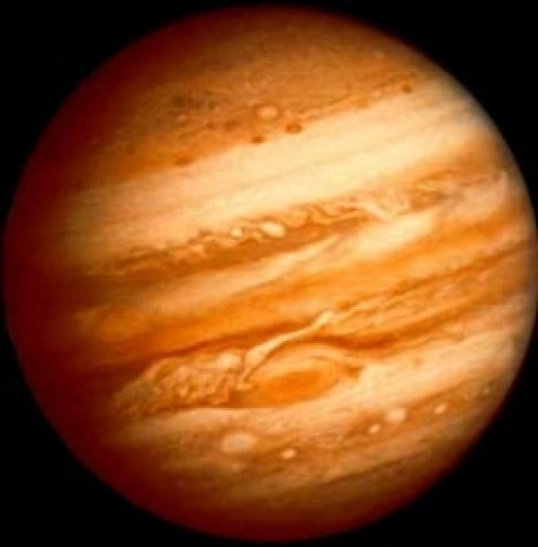 This is a full view of Jupiter and its atmosphere.