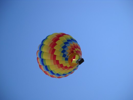 An upward glance at a traditional hot air balloon.