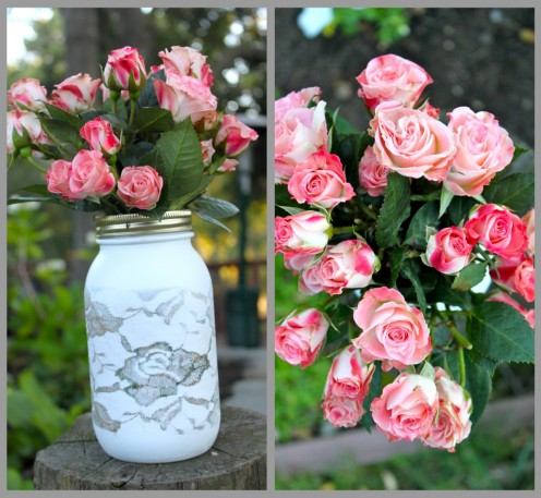 lacy vase with roses