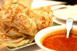 The flakier cousin of Naan, roti prata is often eaten as a breakfast food in Singapore.