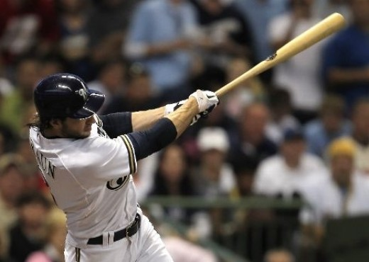 The signature high, two-handed follow through of Ryan Braun
