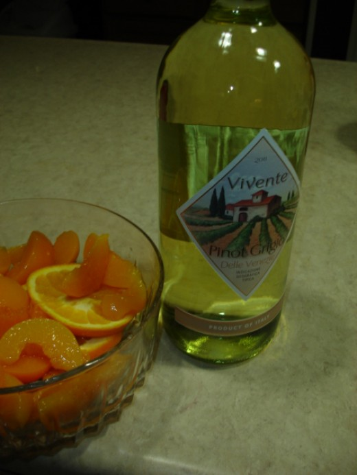 Wine, fresh fruit