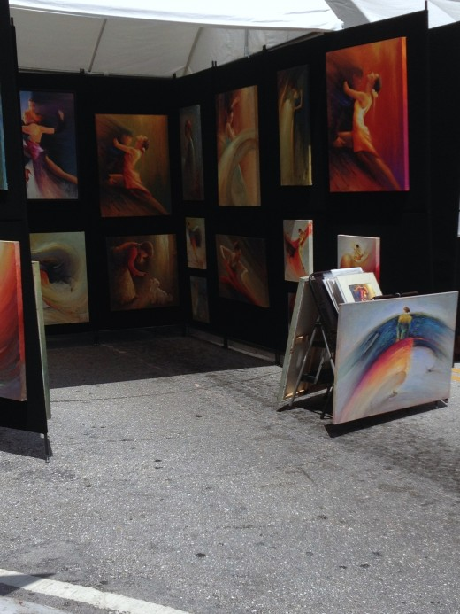 This Spanish Art booth is a typical display design at the Art Fair.