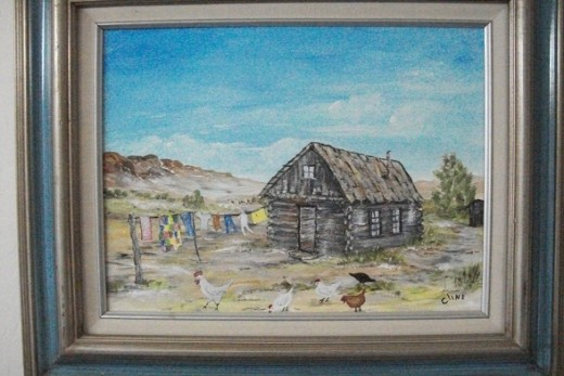 This pioneer homestead was painted from memory, a childhood home built after living in a prairie sod house in Arizona.