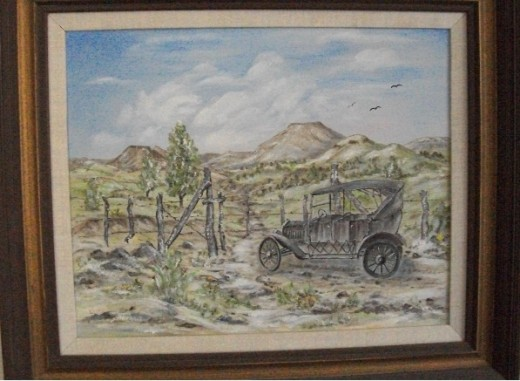Modern transportation, in my mother's childhood -- homesteadiing days near Showlow, Arizona.