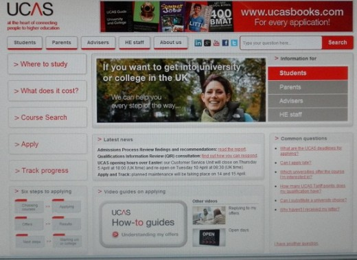 UCAS - the universities and colleges application service (for the UK)