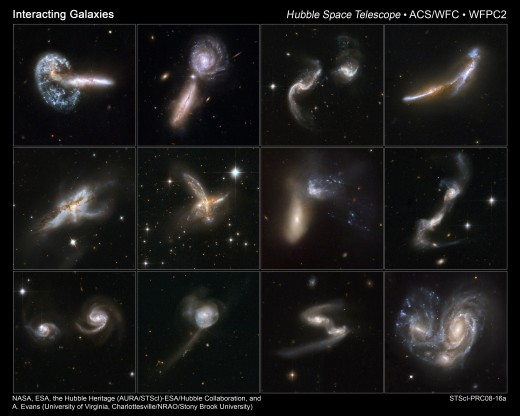 A collage of different intergalactic collisions imaged by the Hubble Space Telescope over the years. Someday, our own Milky Way Galaxy will crash into Andromeda! We've got a few billion years before we have to worry, though.