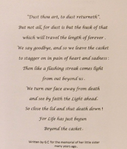 Memorial poem written for Ruthie by her sister, my mother, over 45 years ago.  It is on Mom's memorial page...and in my heart.  No one of her children knew of the poem till she recently requested it be used for her memorial.
