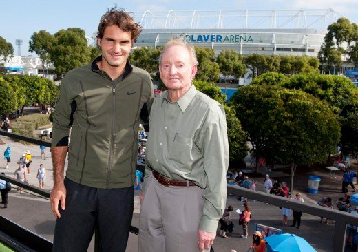 The two greatest of all time: Roger Federer and Rod Laver spending time together at the 2012 Australian Open