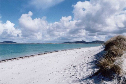 The white sand beach extends for miles along the west coast of the island.