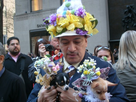 On Easter, even the little doggies have their own bonnets for the parade down 5th Avenue