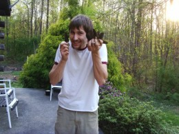 A happy author with black morels