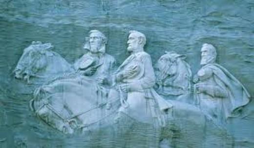 Jefferson David, Robert E. Lee, and Stonewall Jackson on Stone Mountain