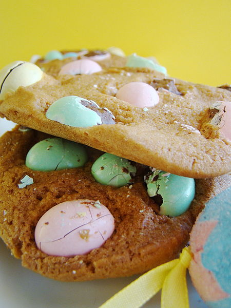 Spring break cookies with carob candy coated chocolate