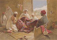 Family making prayer shawls