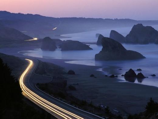 The Oregon Coastline along the Pacific Ocean