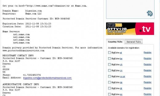 screenshot of Bigezine protected domain http://whois.domaintools.com/bigezine.com