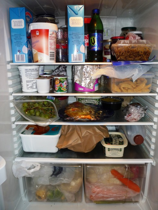 An average family fridge - some healthy food and some not so good