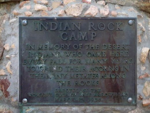 Plaque dedicated to the Serrano women of the Indian Rock Camp.