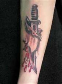 Dagger, Knife Through Skin Tattoos
