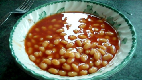 Beans ready for the microwave - cover them up before you cook them.