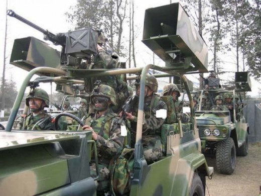 Soldiers on patrol armed with NVDs
