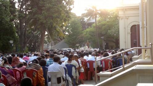 Congregation faces east toward the makeshift altar