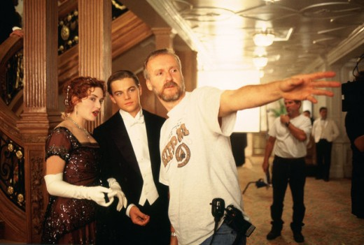 Kate Winslet, Leonardo DiCaprio and James Cameron on the set of Titanic (1997)