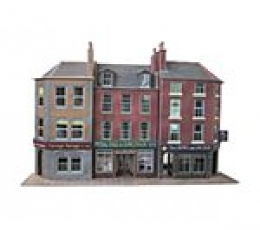 Three kits to show the versatility and variety of Metcalfe card kits, this one is the low-relief shops and terraced houses